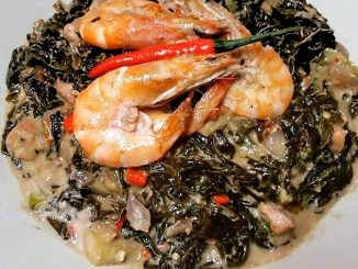 laing with shrimp - lutong bahay recipe